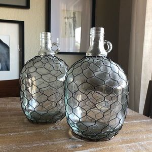 Vintage Wire Caged Clear Glass Bottles Set of 2